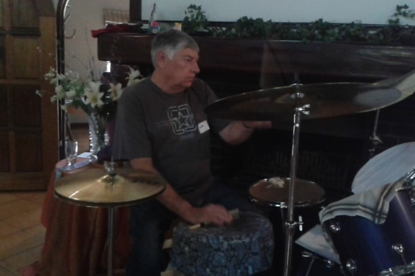 Ernie practicing on drums