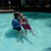 Zoe getting baptised